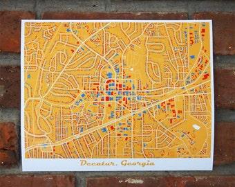 Decatur Map Art Print, Georgia Map Art, Yellow Art