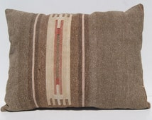 """flat woven pillow Turkish kelim pillow cover hand woven rectangle wool H1781 area rug 24""""x18"""""""