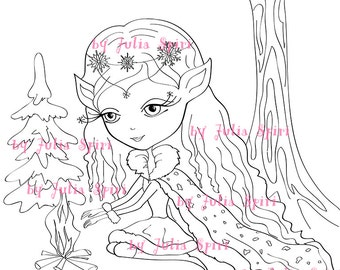 Digital Stamps, Digi stamp, Coloring pages, Digital doll, Winter, Elf stamps, Fantasy, Scrapbooking. The Winter Collection. The Winter Elf