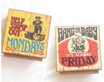 70s OFFICE DECOR // vintage gift present stamp out mondays case if the mondays hang on baby friday tgif desk coworker funny