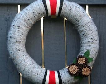 OSU Ohio Buckeye Wool Yarn Felt Wreath