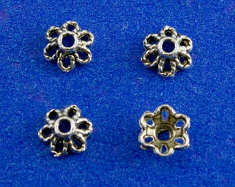 30pcs -Antiqued Silver Petal Bead Cap AS-B07945-8S