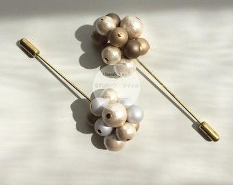 Brooch:  Hana Brooch  (Gold/Silver) - BR005  - Cotton Pearl, Acrylic Bead, Brass Brooch