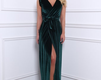 Dark Green Velvet Maxi Dress Wrap Neckline Slit Sleeveless