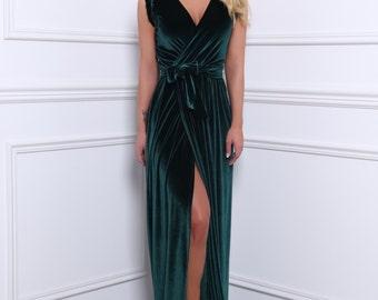 Velvet Maxi Wrap Neckline High Slit Dress Sleeveless Waistband Sash Dark Green Bridesmaid Party Dress