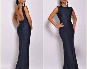 Navy Blue Brown Maxi Dress Bodycon Backless Sleeveless Evening Dress
