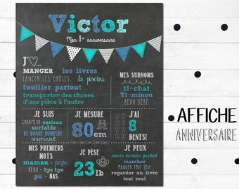Poster first anniversary personnalisee_fichier numerique_fete baby 1 year, flags aqua blue and gray, slate table, Blackboard
