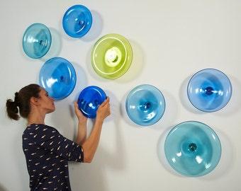 Hand Blown Glass Wall Art Installation / Abstract Wall Art / Corporate Wall Art Installation /  Modern Wall Art / Custom Wall Art