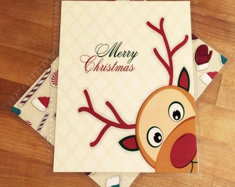 Front and Back Cover Set Merry Christmas Cute Reindeer for use with Erin Condren or Happy Planner