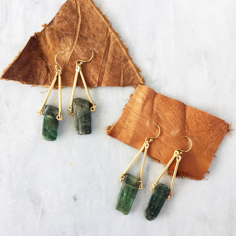 Green Kyanite Dangle Earrings | Raw Stone | Kyanite | 14k gold fill | Geometric