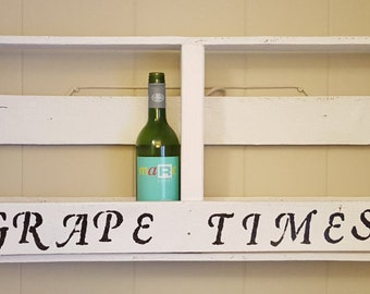 Wine Rack, Wall Shelf, White Wall Shelf, Reclaimed Wood Shelf, Pallet wood wall shelf, Rustic wall shelf, Eco home decor, Rustic decor