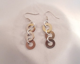 Stainless steel washer earrings, Washer dangle earrings, washer earrings, metal earrings, Unique jewelry
