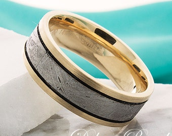 Yellow Gold Wedding Band with Meteorite Inlay,7.5mm Flat,Grooved,Ring For Him,Gold Wedding Band,Meteorite Mens Ring,Mens Womens Wedding Ring