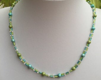 Hand Crafted Blue and Green Beaded Necklace.