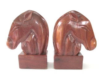 Carved Wood Horse Head Bookends