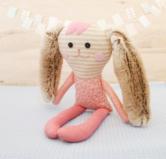 Bunny, Stuffed Little Pink Rabbit Doll, Gift for Baby, Handmade Rag Doll, Soft Animal Toy Newborn, Gift for a Niece, Toys, Bunny Rabbit
