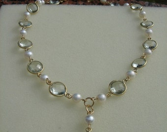 Green amethyst and Pearl, gold, 585 gold filled necklace