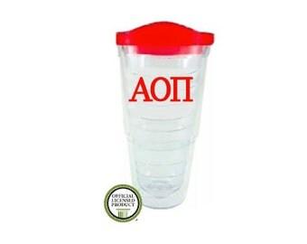 Alpha Omicron Pi 24oz Tumbler, Sorority Acrylic Cup, Greek Cup, Sorority gift, Big Little Gift, AOPi, Alpha Omicron Pi Gift