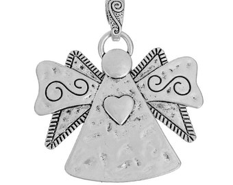 Angel Pendant - 2 Beautiful Angel Pendants - Silver Guardian Angel Charm - Large Pendant - Carved, Angel Pendants For Jewelry, Etc - CH-S034
