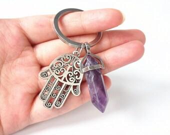 hamsa keychain,hamsa key chain, hamsa hand keychain, Hand of Fatima, spiritual gifts, yoga accessories, yoga gifts, crystal keychain,boho