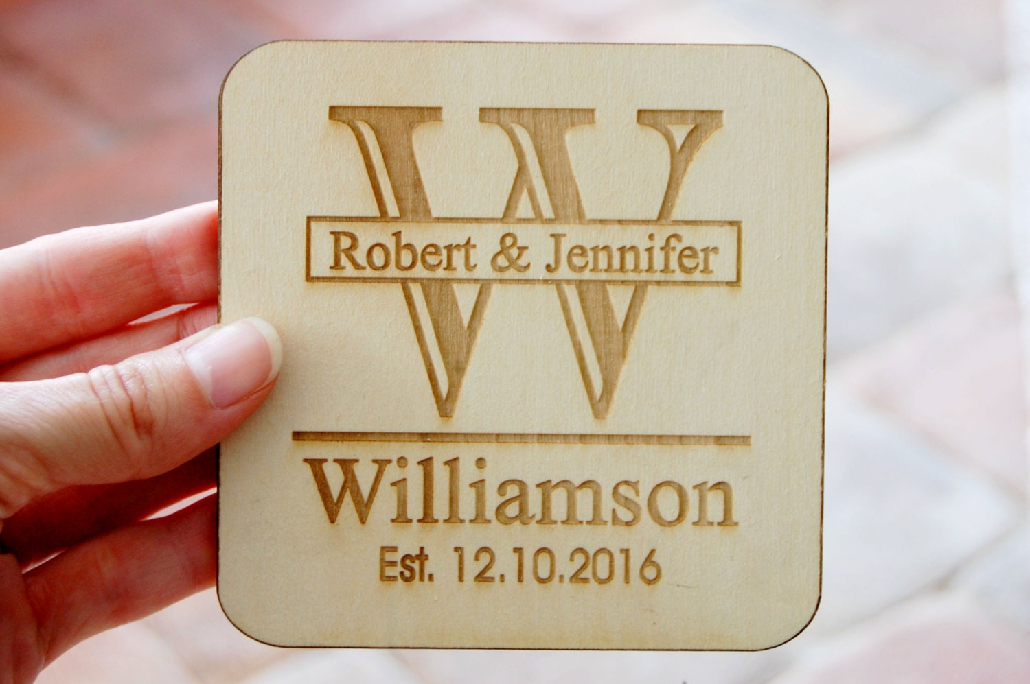 Personalized Coasters Wedding Gift: Laser Cut Wedding Favors Engraved Wood Coasters Personalized
