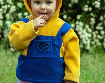 Despicable Me Minion Pull Over Fleece Hoodie, Free shipping