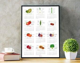 SALE Printable 2017 Calendar, large wall calendar 2017, illustrated calendar, vegetable illustration, fruit veggie seasonal calendar 2017