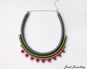 Statement necklace / rope necklace / bib necklace / color block / grey / green / fuchsia / silver / beads / gift for her / handmade