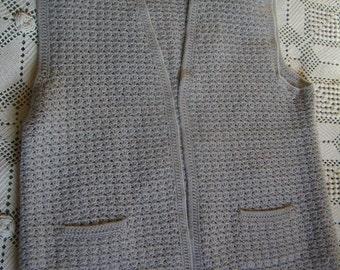 grey vest handmade crochet Womens Vest without buttons, size L/XL, Vintage 1980