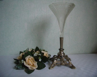 Antique french Vase, Art Nouveau, cut glass, foot controlled