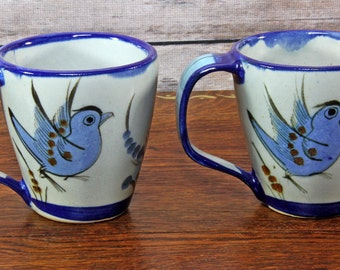 Tonala Mexican Pottery Mugs ~ Signed Ken Edwards ~ Pair of Vintage Conical Mugs ~ Birds, Flowers, Butterflies ~ Excellent Condition!