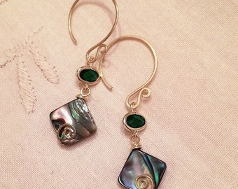 Natural abalone shell beads dangling earrings handmade with  crystal loops and gold wire
