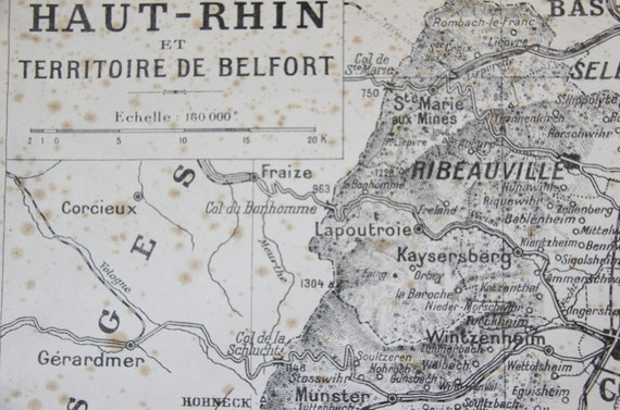 Large map Haut Rhin Alsace territoire Belfort France antic paper