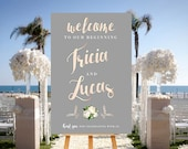 Rose Gold Wedding Sign, Blush Pink and Grey Wedding Sign, Printable Rose Gold Sign, Calligraphy Wedding Welcome, Blush Gray Wedding Sign