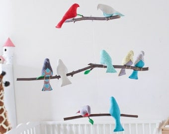 Custom Bird Mobile - Choose your colors - Baby Crib Mobile - Bird Nursery Decor- Birds on a Branch Mobile