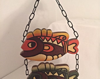 Wooden Fish Art Wall Hanging Beautiful Painted Wooden Inside Outside Decor Retro Fish Sign Display