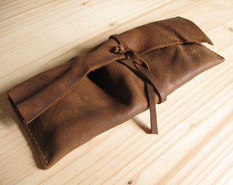 Brown Leather Pencil Pouch