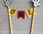 Mickey Mouse Cake Topper Mickey  Mouse Party Decoration Baby's First Birthday Mickey Banner Mickey Clubhouse Cake Party Supplies Baby is One
