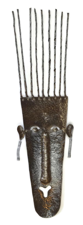 "Native Son Mask Haiti Metal Wall Art 7"" x 33"""