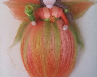 Wool fairy. Waldorf inspired. Needle felted wool. Soft and warm colors for anywhere at home or workplace
