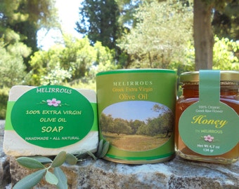 Greek All Natural & Organic Gift Set With Raw Forest Honey, Koroneiki Extra Virgin Olive Oil and Soap Made From Extra Virgin Olive Oil