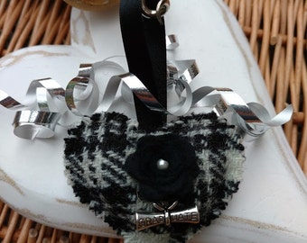 Graduation gift in black Harris Tweed, scroll charm, Scottish gifts, college gift, Scotland, hanging decoration, heart ornament, gifts,