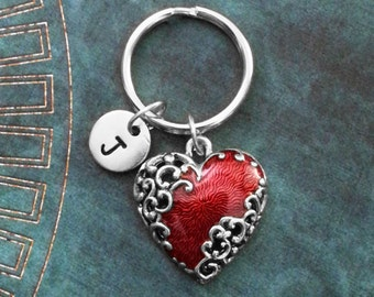 Red Heart Keychain SMALL Heart Keyring Girlfriend Keychain Valentine's Day Keychain Filigree Heart Ornamental Heart Bridesmaid Keychain