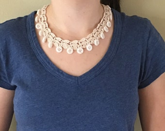 "Bohemian Lace and Button Necklace - Adjustable to 17.5"" Handmade Crochet Beachy - No Metal - Item N28"