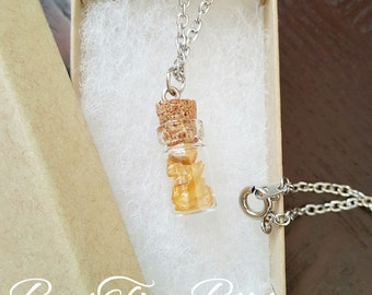Citrine Gemstones | Vial Necklace | Gifts for her