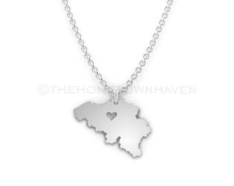 Belgium Necklace - Belgium pendant necklace, Belgium map necklace, I Heart Belgium