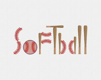 Softball Machine Embroidery Design - 1 Size
