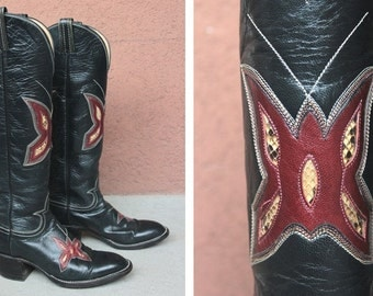 Vintage Hondo Cowboy Boots Mexicana Boots - 1980's Western Boots - Size 6.5