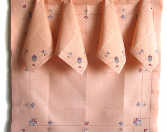 table topper linen napkins vintage tablecloths square table cloth peach tablecloth - Cloth Tablecloths