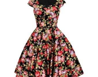 Floral Dress Vintage Inspired Dress Floral Bridesmaid Dress Vintage Dress Rockabilly Dress Pin Up Dress 50s Tea Party Dress Plus Size Dress